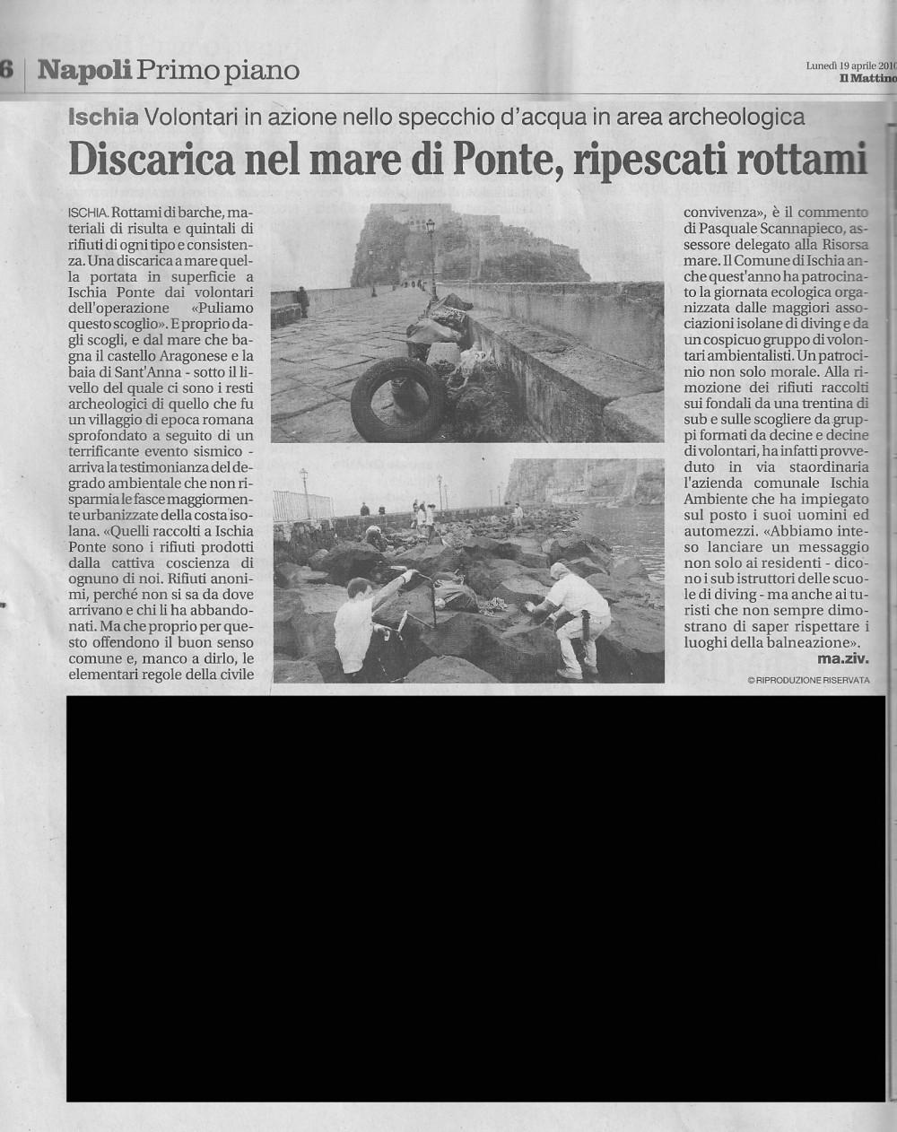 Il Mattino pulizia fondali del castello aragonese 2010